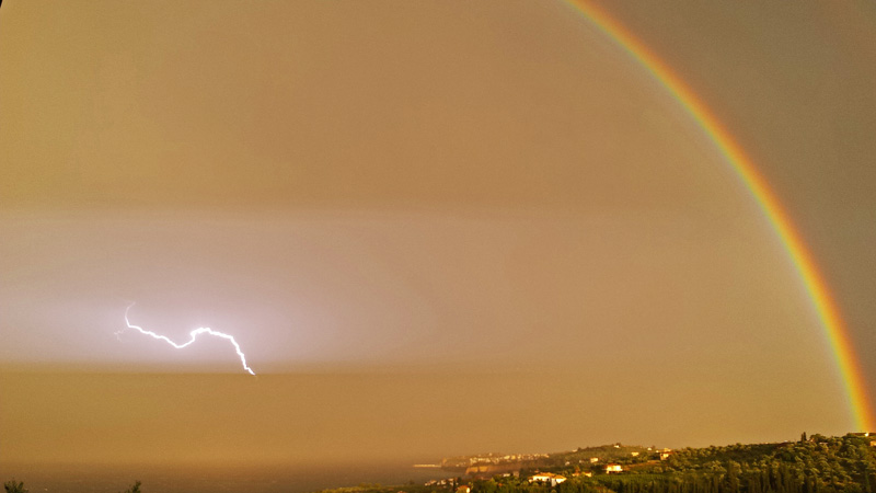 rainbow and lightning Koroni